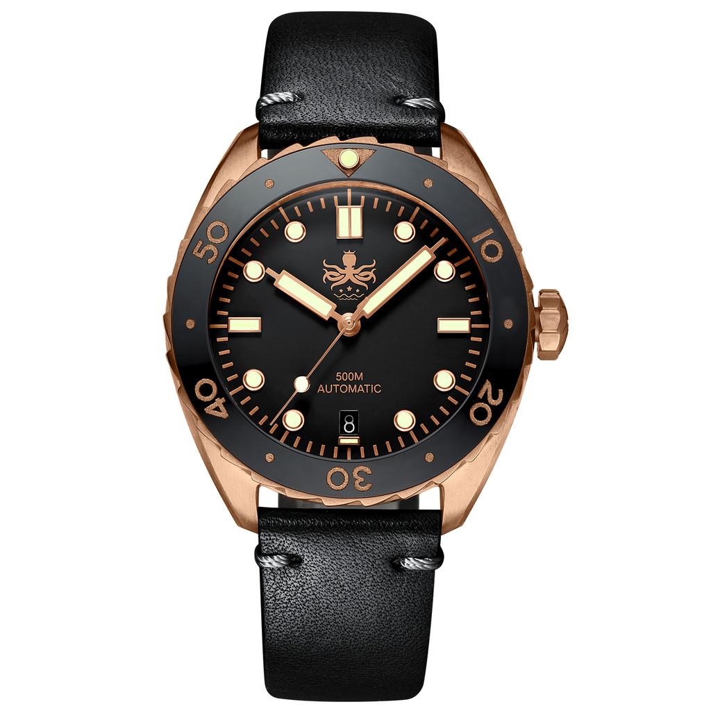 PHOIBOS EAGLE RAY BRONZE PY018D 500M Automatic Diver Watch Black