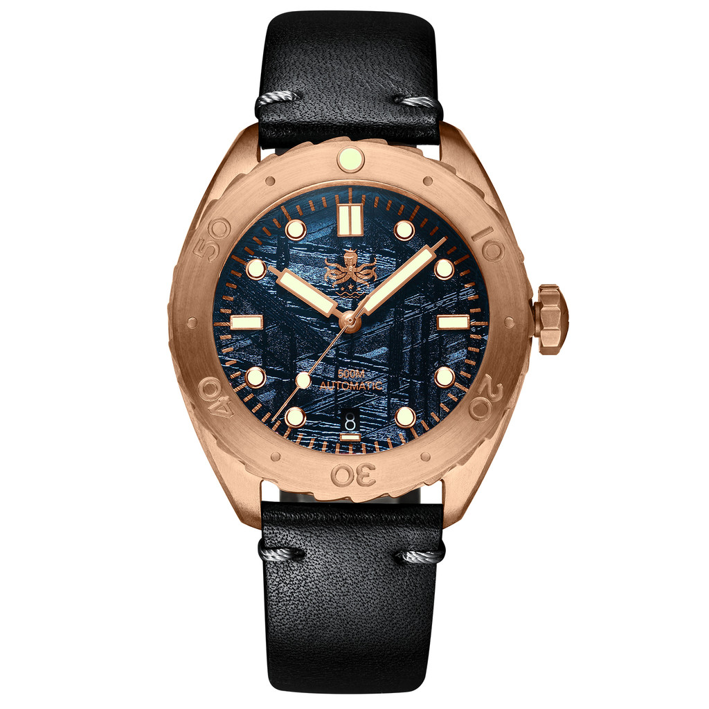 PHOIBOS EAGLE RAY BRONZE PY018E 500M Automatic Diver Watch Blue Meteroite