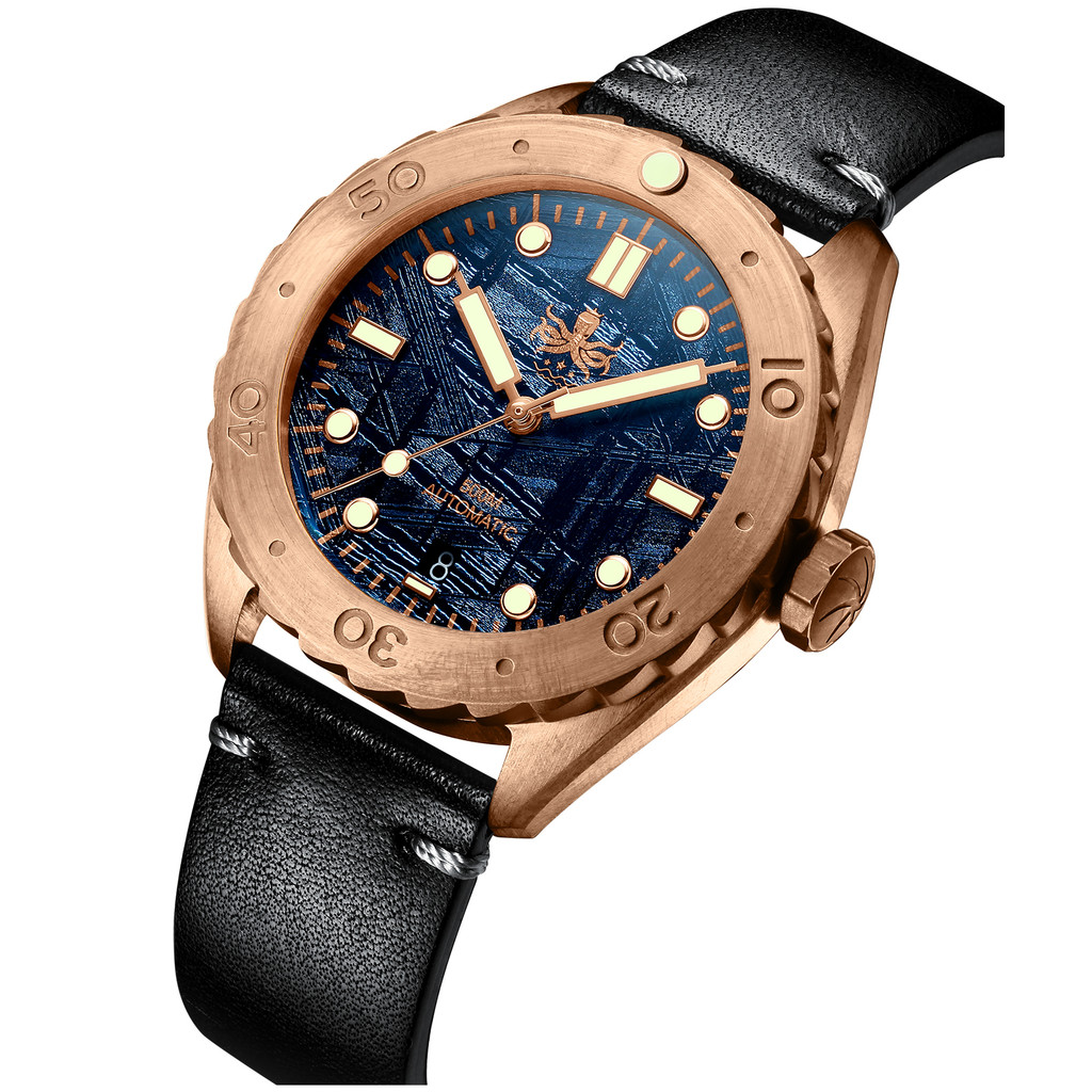 PHOIBOS EAGLE RAY BRONZE PY018E 500M Automatic Diver Watch Blue Meteorite