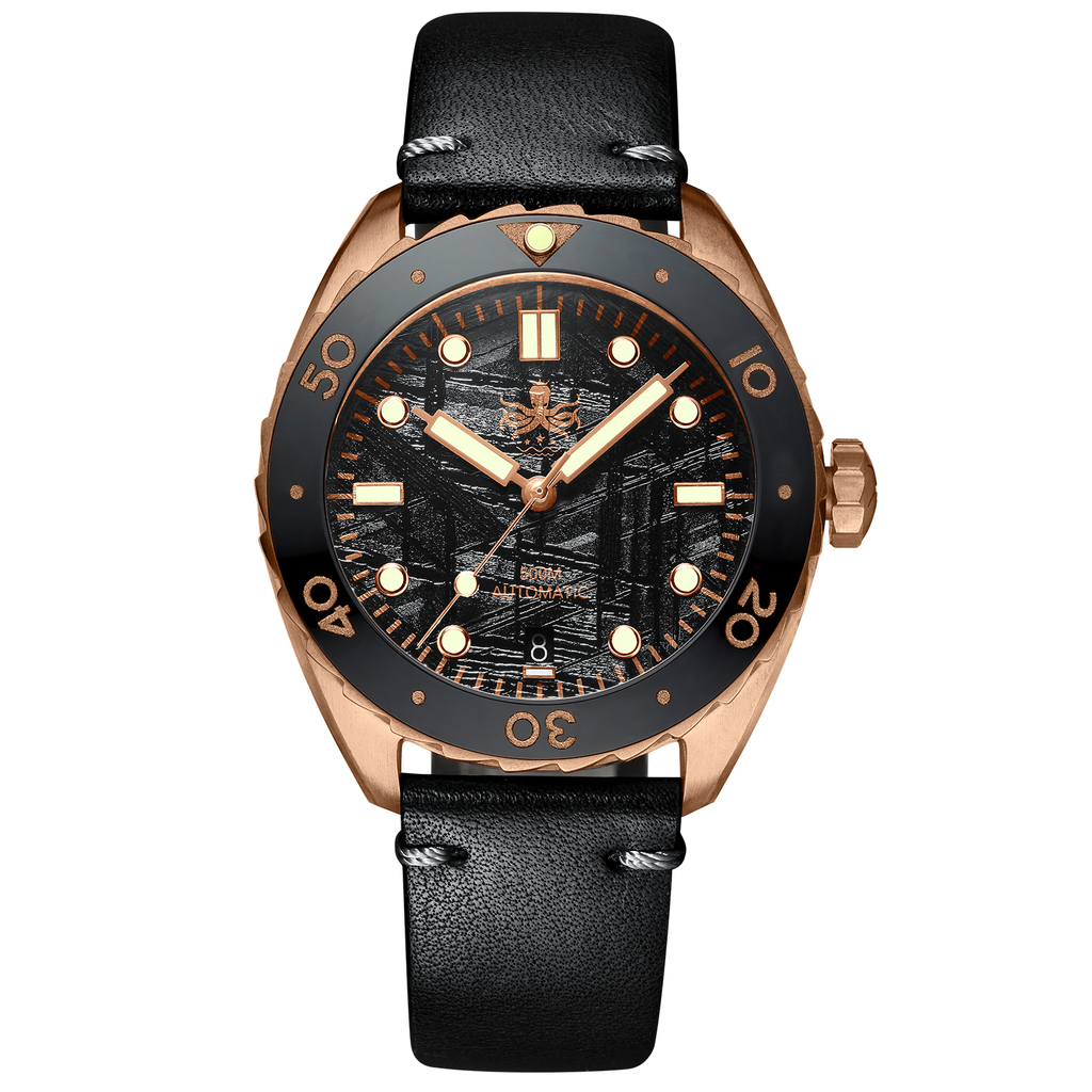 PHOIBOS EAGLE RAY BRONZE PY018F 500M Automatic Diver Watch Black Meteroite