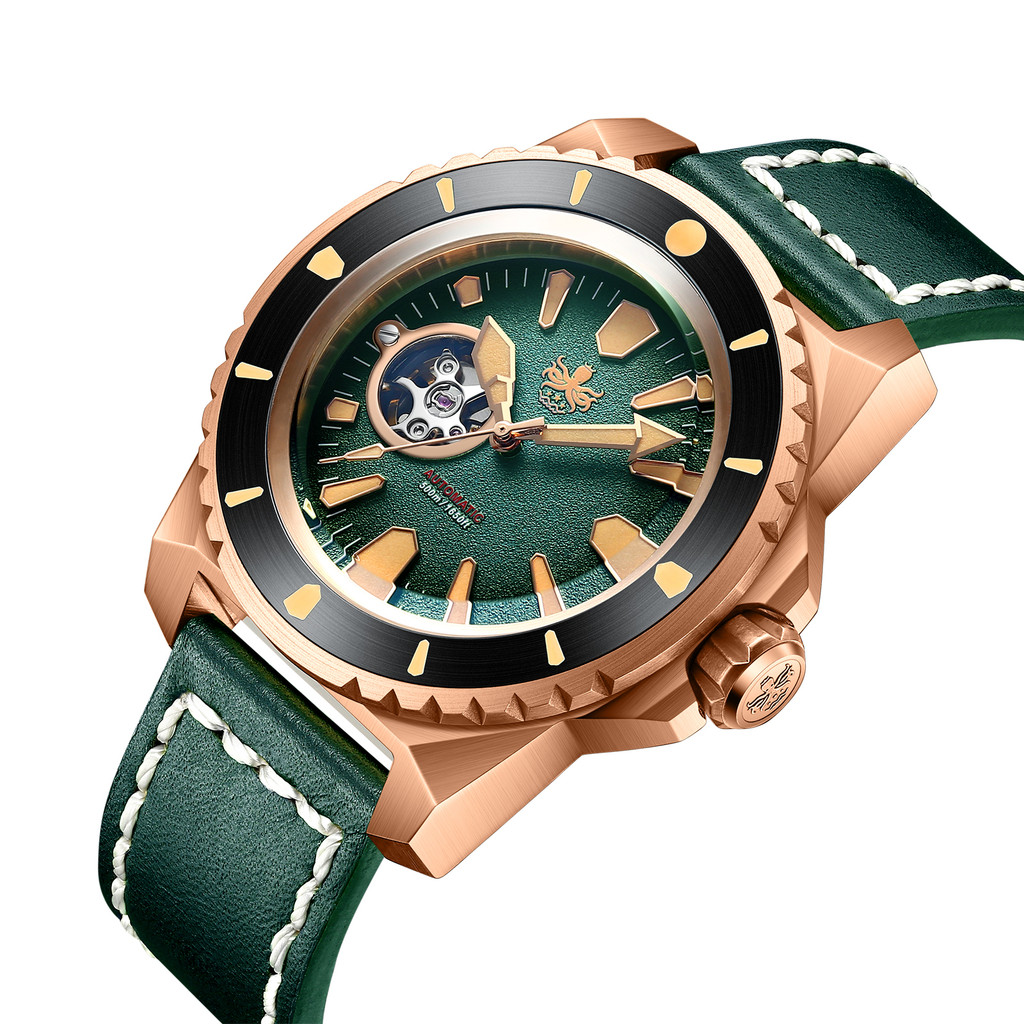 PHOIBOS LEVIATHAN BRONZE PY027A 500M Automatic Diver Watch Green Limited Edition