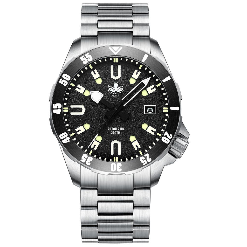 PHOIBOS APOLLO TITANIUM PY031C 200M Automatic Diver Watch Black