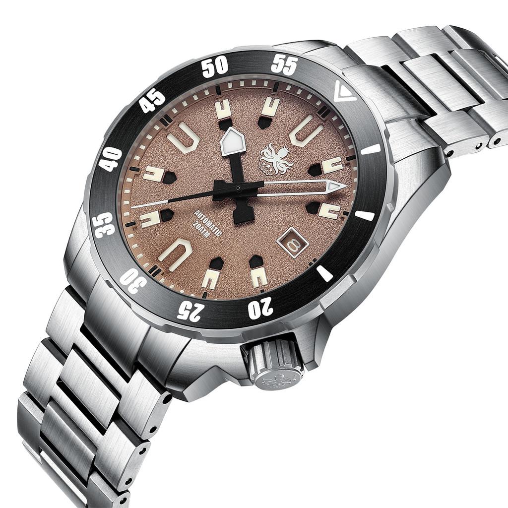 PHOIBOS APOLLO TITANIUM PY031E 200M Automatic Diver Watch Brown