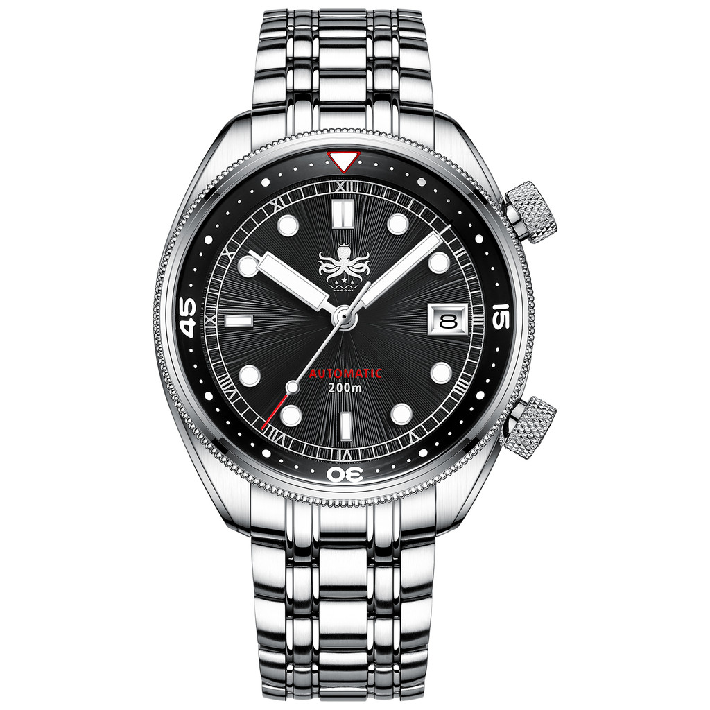 PHOIBOS EAGLE RAY 200M Automatic Compressor Dive Watch PY039C Black&Silver