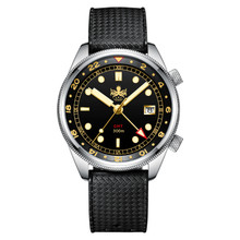 PHOIBOS EAGLE RAY GMT PX023D 300M Dive Watch Black&Gold