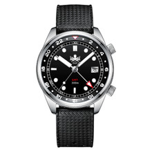 PHOIBOS EAGLE RAY GMT PX023C 300M Dive Watch Black&Sliver
