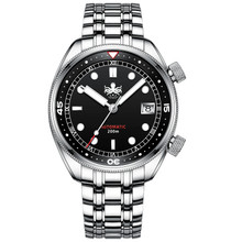 PHOIBOS EAGLE RAY 200M Automatic Compressor Dive Watch PY029C Black&Silver