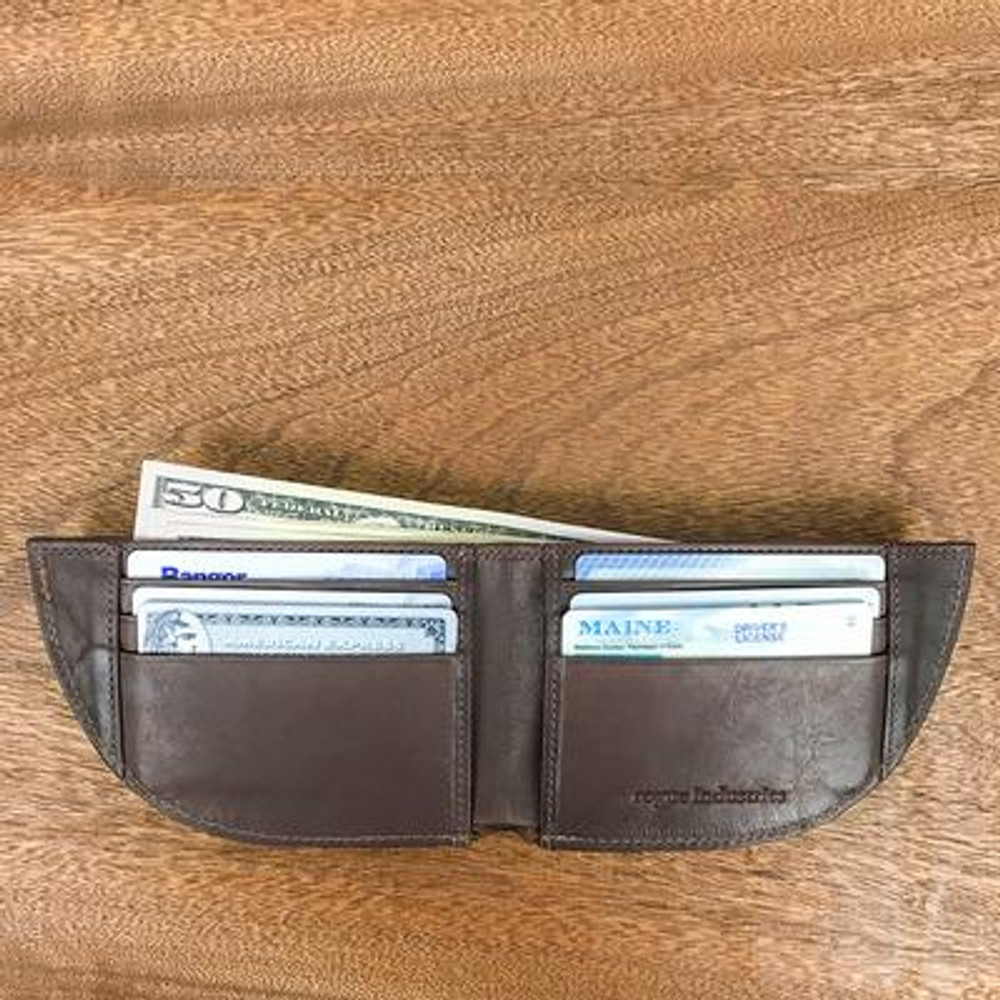 Front Pocket Wallet Nantucket Style - Brown Moose Leather open to show six slots