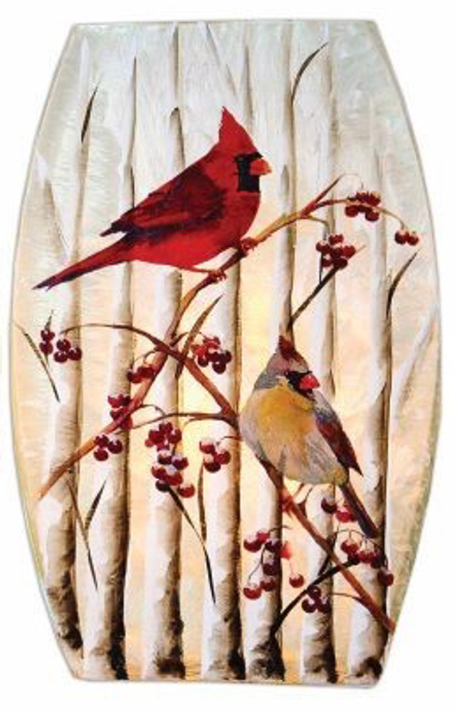 Christmas Cardinals Vase with white background