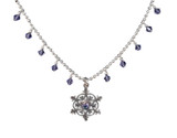 Tanzanite Multi Crystal Snowflake Necklace with no background