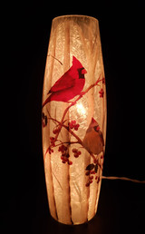 Red and Yellow Cardinal Vase - lights on