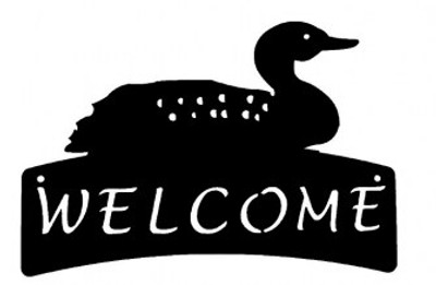 Welcome sign with a loon on top.