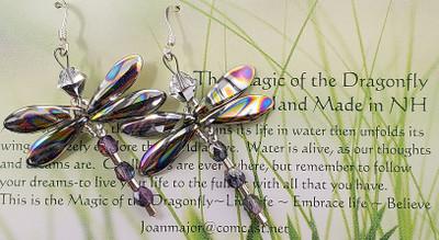 Multi-color dragonfly earrings