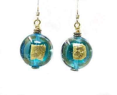 Gold Lentil and Teal Venetian Glass Earrings