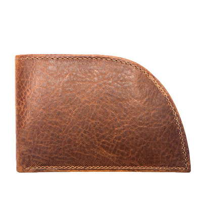 Front Pocket Wallet in Brown Bison Leather