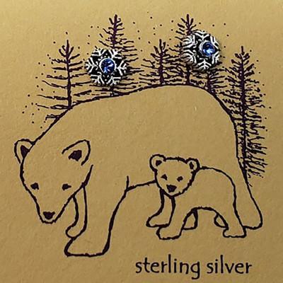 Sapphire Sterling Silver Snowflake Earrings