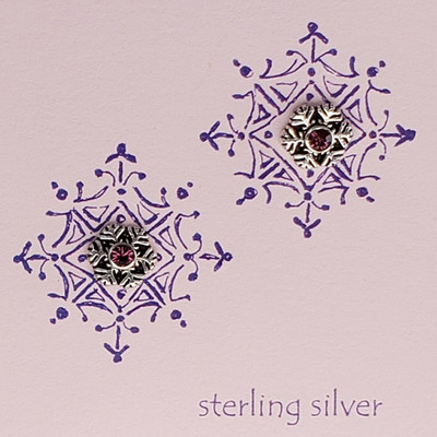 Amethyst Crystal Snowflake Earrings