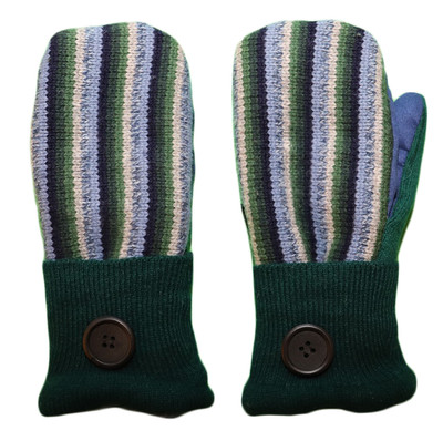 Women's Wool Mittens - Blue and Green Stripes