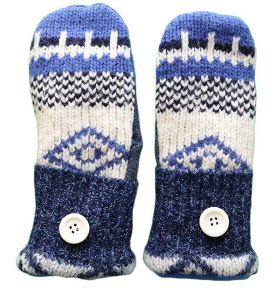 Women's Wool Driving Mittens - Blue and Cream