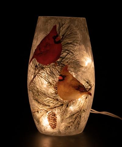 Christmas Cardinals Vase