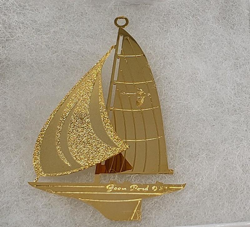 Gold Sailboat Ornament