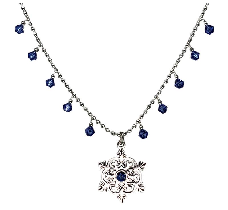 Sapphire Crystal Snowflake Pendant