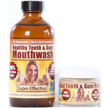 Gum Disease - Gum Recession - Help is Here! HAPPY Teeth and Gum KIT - Organic Mouthwash & Tooth Powder - Helps Remove Plaque, Prevent Cavities