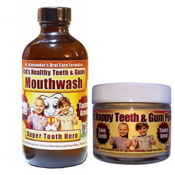 Kids Organic Teeth and Gum Kit - Mouthwash and Tooth Powder for Kids - Helps Prevent Cavities and Remove Plaque