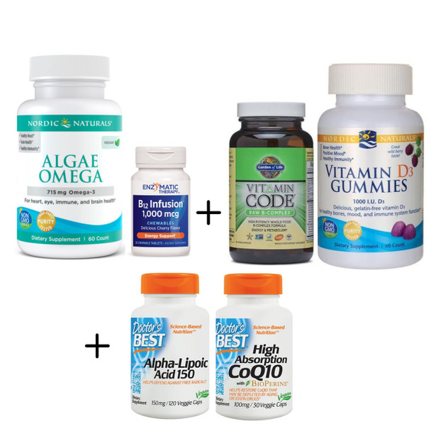 VEG ESSENTIALS PLUS Brain Kit - Supplements for Brain Health, with Vegetarian Omegas