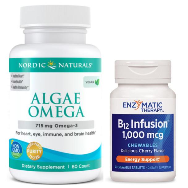 VEG BUDGET Brain Kit - Best Omega-3s and B12 For Vegetarians