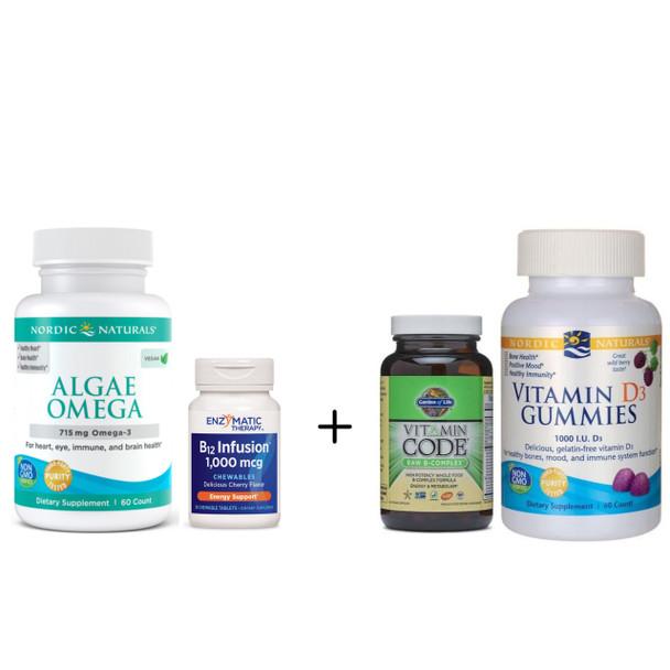 VEG BASIC Brain Kit - Vitamins to  Improve Brain Function, Omega-3s, No Fish Oil