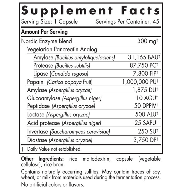 Vegetarian Digestive Enzymes for GI Support by Nordic Naturals - For a Healthy Gut and Improved Digestion