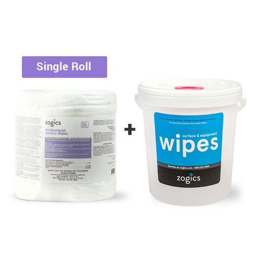 Antibacterial Wipes (single roll) + Bucket Dispenser