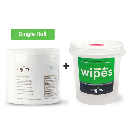 Sanitizing Wipes (single roll) + Bucket Dispenser
