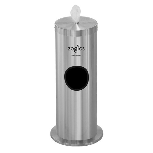 Zogics Floor Stand Gym Wipes Dispenser & Waste Receptacle, Satin Aluminum