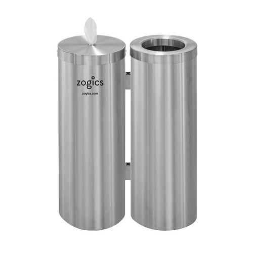 Floor Stand Gym Wipes Dispenser & Waste Receptacle, Dual Canister, Satin Aluminum