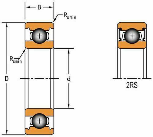 6808 2RS Double Seal Ball Bearing 40 X 52 X 7