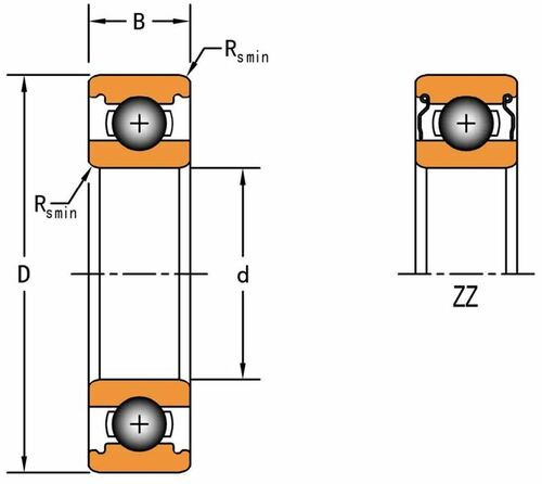 628 ZZ Double Shield Ball Bearing 8 X 24 X 8