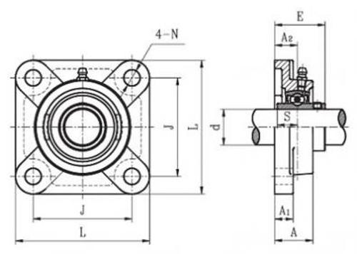 UCFX12-39 UCFX Medium Duty Set Screw Locking Type Four Bolt Flange Units