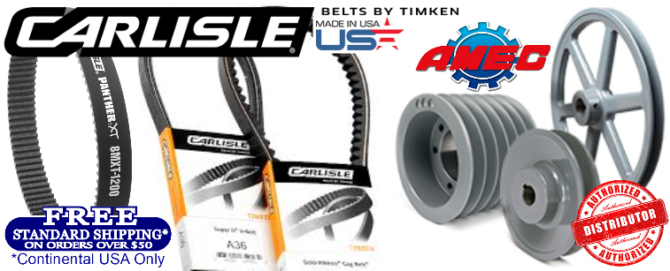 Carlisle Belts By Timken Made In USA And Amec Sheaves and Pulleys  HEAVY DUTY INDUSTRIAL V-BELTS  THE RIGHT BELT FOR THE JOB® You can depend on Carlisle belts by Timken for a wide range of applications. We've got you covered with the right belt for most any job. Carlisle belts are purpose-built and designed for optimal performance on the most demanding applications. They resist stretch, heat, oil, chemicals, ozone, and are static dissipating. Aramax® Xtra Duty V-Belt    Double Angle V-Belt Double Angle V-Belt    Gold-Ribbon® Cog-Belt® Gold-Ribbon® Cog-Belt®    Metric Power-Wedge® <br />Cog-Belt® Metric Power-Wedge® Cog-Belt®    Power-Wedge® Cog-Belt® Power-Wedge® Cog-Belt®    Super Blue Ribbon® V-Belt Super Blue Ribbon® V-Belt    Super II® V-Belt Super II® V-Belt    Super Power-Wedge® <br />V-Belt Super Power-Wedge® V-Belt    Variable Speed Cog-Belt® Variable Speed Cog-Belt®    Vee-Rib® Belt Vee-Rib® Belt