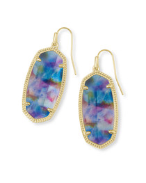 Elle Earring Gold Teal Tie Dye Illusion