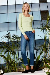 Slim Rib Scoop Neck Sweater In Mojito
