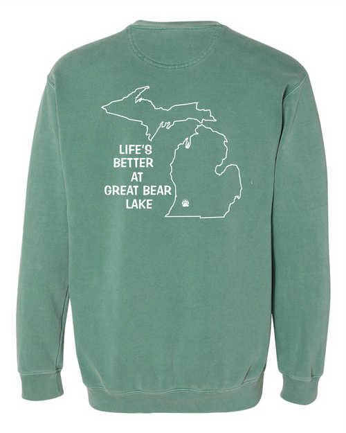 Great Bear Lake Comfort Colors Sweatshirt Light Green