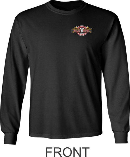 Front of Long Sleeve Black T-shirt.