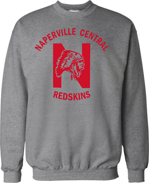 Grey Crewneck Sweatshirt with red printed ink logo