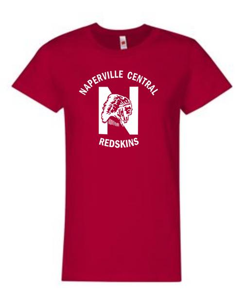 Naperville Redskins Ladies Short Sleeve Shirt Red