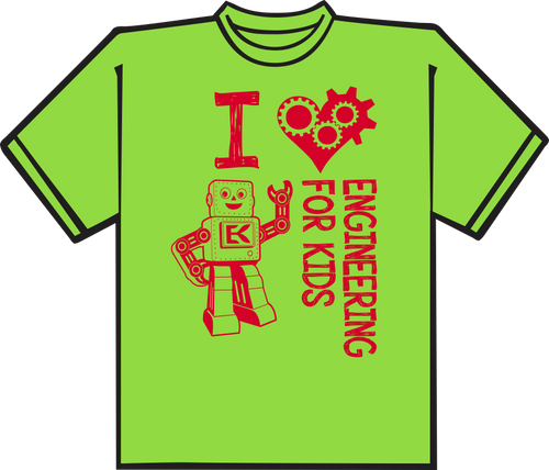 Lime Green T shirt with Red printing.
