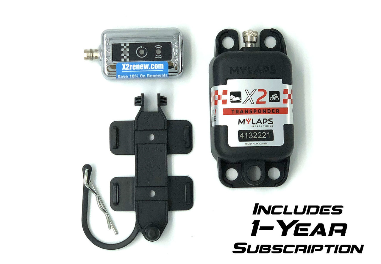 MyLaps X2 Rechargeable Transponder (Car/Motorcycle), 1-year subscription