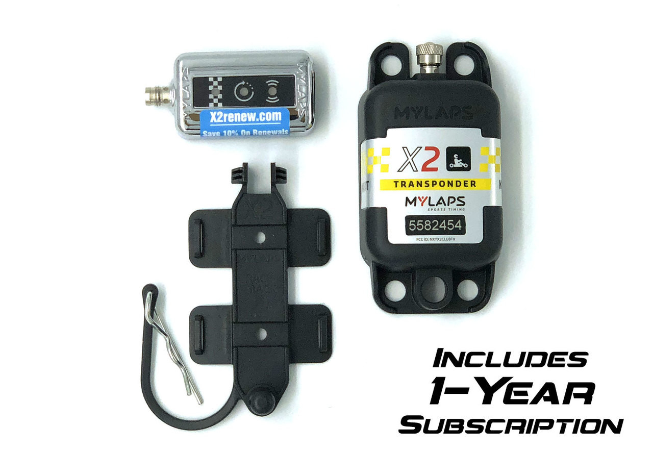 MyLaps X2 Rechargeable Transponder (Karting), 1-year subscription