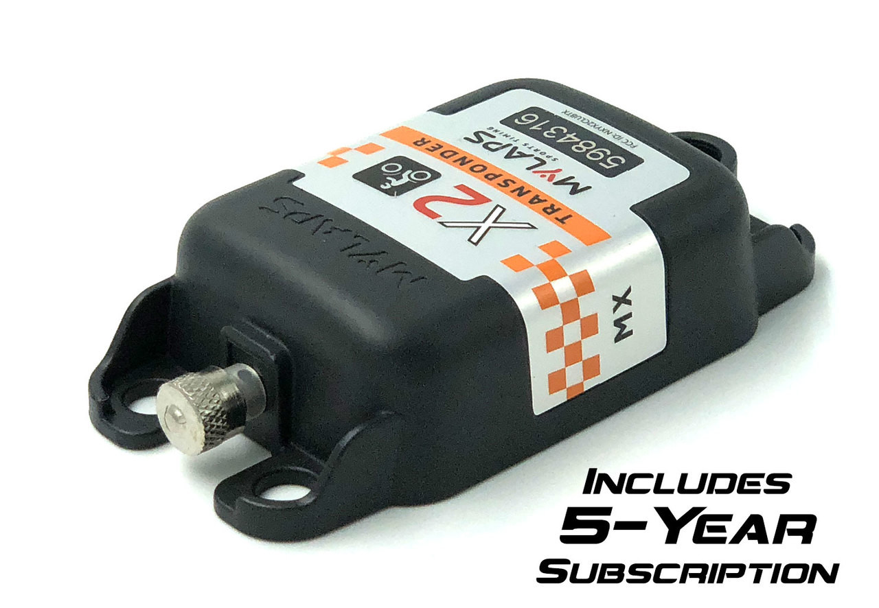 MyLaps X2 Rechargeable Transponder (Motocross/MX), 5-year subscription